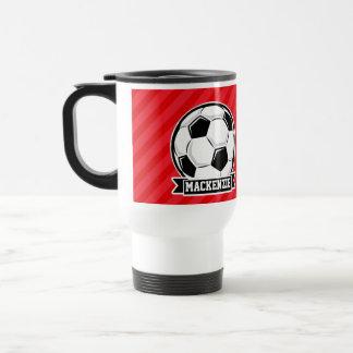 Balón de fútbol en rayas diagonales rojas taza de viaje de acero inoxidable