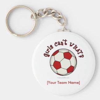 Balón de fútbol en rojo llavero redondo tipo pin