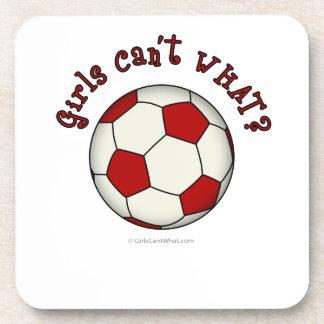 Balón de fútbol en rojo posavasos de bebidas
