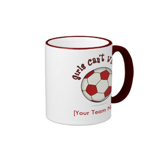 Balón de fútbol en rojo taza de dos colores