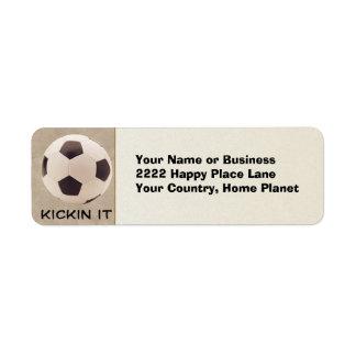 Balón de fútbol etiquetas de remite