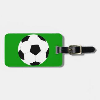 Balón de fútbol etiqueta de maleta