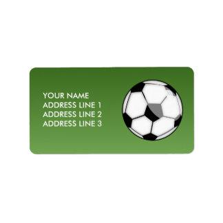 Balón de fútbol etiquetas de dirección