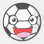 Balón de fútbol feliz pegatina redonda