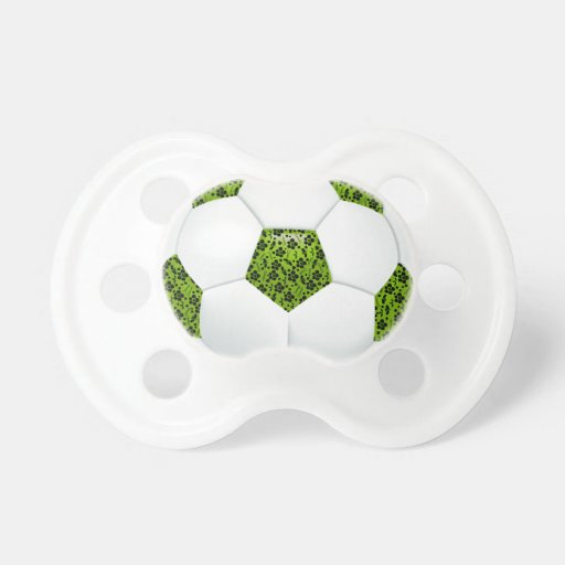 Balón de fútbol floral negro de la verde lima chupetes para bebes