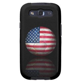 Balón de fútbol gastado de fútbol de bandera ameri galaxy s3 cobertura