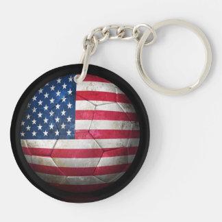 Balón de fútbol gastado de fútbol de bandera ameri llaveros