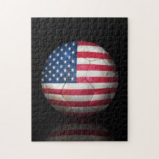 Balón de fútbol gastado de fútbol de bandera ameri rompecabeza con fotos