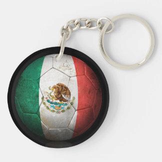Balón de fútbol gastado de fútbol de bandera mexic llavero