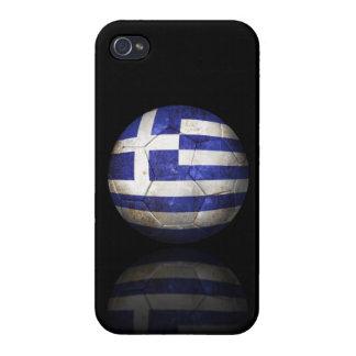Balón de fútbol griego gastado de fútbol de bander iPhone 4 carcasa