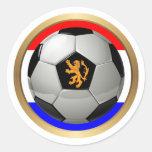 Balón de fútbol holandés con el león holandés pegatina redonda