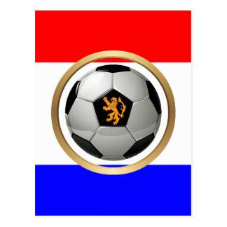 Balón de fútbol holandés con el león holandés tarjetas postales