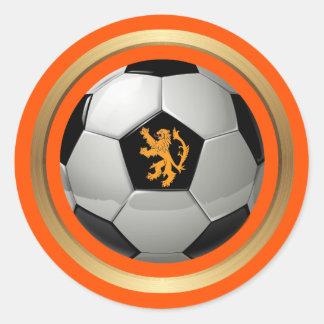 Balón de fútbol holandés, león holandés en el pegatina redonda