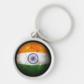 Balón de fútbol indio gastado de fútbol de bandera llaveros