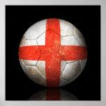 Balón de fútbol inglés gastado de fútbol de bander impresiones