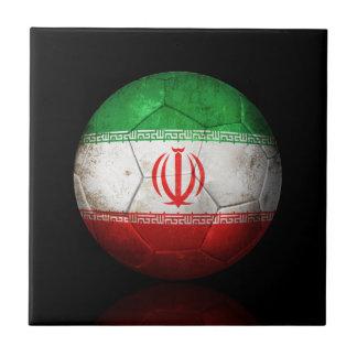Balón de fútbol iraní gastado de fútbol de bandera azulejos ceramicos
