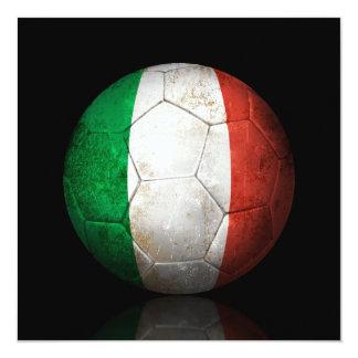 Balón de fútbol italiano gastado de fútbol de invitación 13,3 cm x 13,3cm