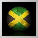 Balón de fútbol jamaicano gastado de fútbol de ban impresiones