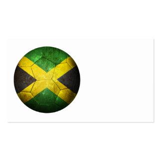 Balón de fútbol jamaicano gastado de fútbol de ban tarjetas personales