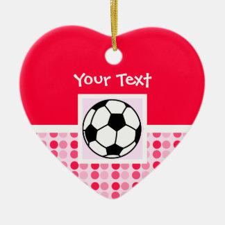 Balón de fútbol lindo adorno de cerámica en forma de corazón