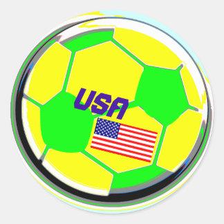 Balón de fútbol los E.E.U.U. Etiquetas Redondas