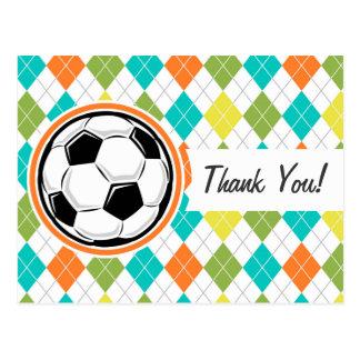 Balón de fútbol; Modelo colorido de Argyle Tarjetas Postales