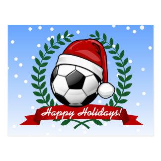 Balón de fútbol navidad de un gorra de Santa que Tarjeta Postal
