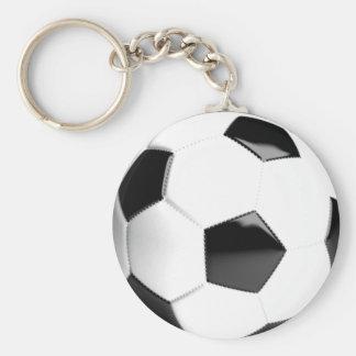 Balón de fútbol negro y blanco llavero redondo tipo pin