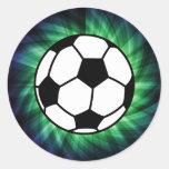 Balón de fútbol pegatina redonda