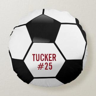 Balón de fútbol personalizado con nombre y número cojín redondo