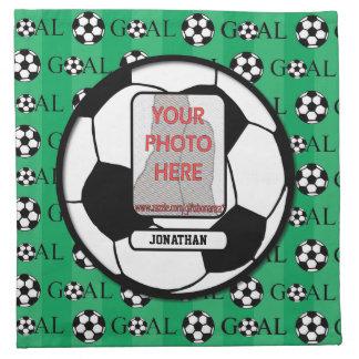Balón de fútbol personalizado de la foto y del nom servilletas imprimidas