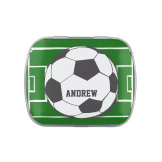 Balón de fútbol personalizado en campo jarrones de dulces