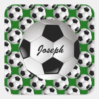 Balón de fútbol personalizado en modelo del fútbol pegatina cuadrada