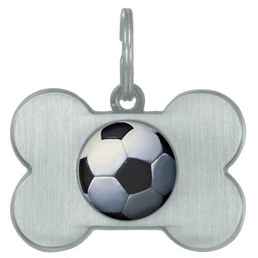 Balón de fútbol placas de nombre de mascota