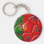 Balón de fútbol portugués de la bandera para las c llavero personalizado