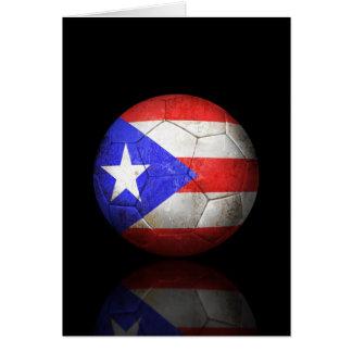 Balón de fútbol puertorriqueño gastado de fútbol d tarjeta de felicitación
