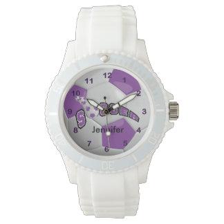 Balón de fútbol púrpura personalizado relojes