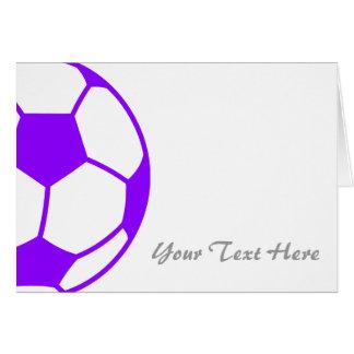 Balón de fútbol púrpura violeta tarjeta pequeña