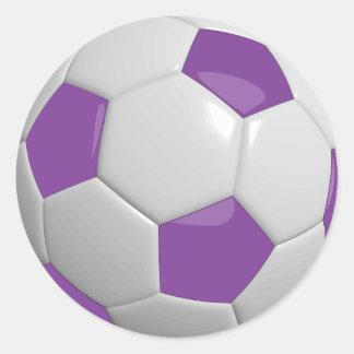 Balón de fútbol púrpura y blanco pegatina redonda
