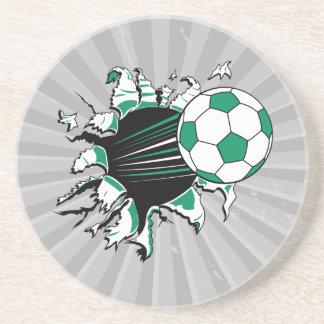 balón de fútbol que rasga a través posavasos diseño