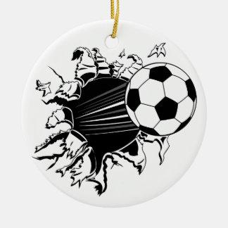 Balón de fútbol que revienta hacia fuera adorno navideño redondo de cerámica