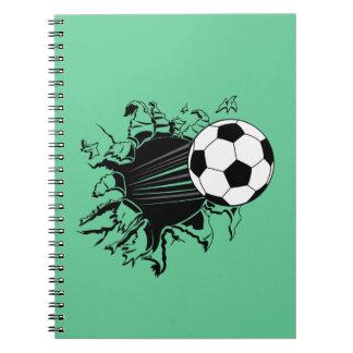 Balón de fútbol que revienta hacia fuera libro de apuntes