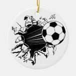 Balón de fútbol que revienta hacia fuera adorno de reyes