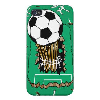 balón de fútbol que se rompe a través de campo iPhone 4 funda