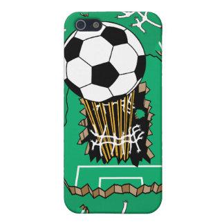 balón de fútbol que se rompe a través de campo iPhone 5 funda