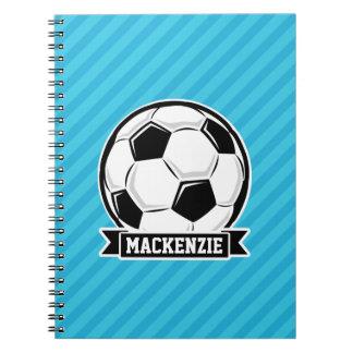 Balón de fútbol; Rayas azules de cielo Libros De Apuntes
