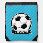 Balón de fútbol; Rayas azules de cielo Mochila