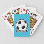 Balón de fútbol; Rayas azules de cielo Naipes