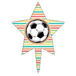 Balón de fútbol; Rayas brillantes del arco iris Decoraciones Para Tartas