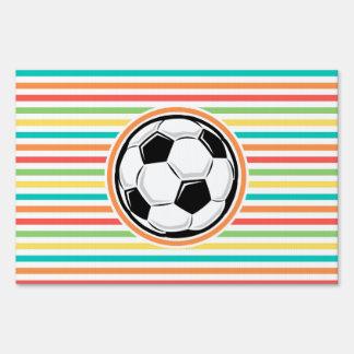Balón de fútbol; Rayas brillantes del arco iris Letreros